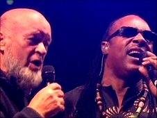 Michael Eavis with Stevie Wonder