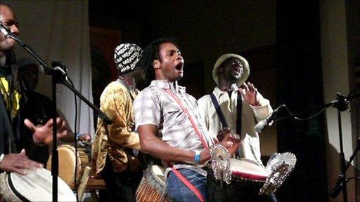 Drummers at African Drum Village in Glenisla, image courtesy of African Drum  Village