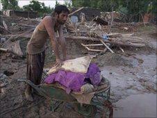 A flood victim in Pakistan