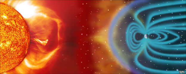 Solar wind interacting with Earth's magnetic field