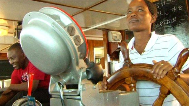 Johanna Kwedhi on board her trawler