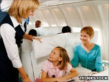 mother and daughter on a plane