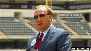 Tom Hicks appearing at the Texas Rangers's stadium when its naming rights were sold