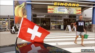 Swiss flag on car at Tiengen, Germany, just over the Swiss border