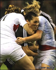 England pair Charlotte Barras and Rachel Burford tackle New Zealand's Victoria Grant at Twickenham last November