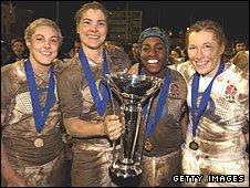England back-rowers Heather Fisher, captain Catherine Spencer, Maggie Alphonsi and Karen Jones celebrate their 2010 Six Nations Grand Slam