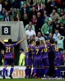 NK Maribor celebrate Dejan Mezga's goal in front of the Hibs fans