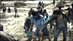 TV grab of floods in Leh