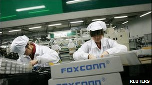 Assembly line at Foxconn plant in Guangzhou May 2010