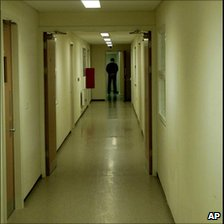 Corridor with guard at Yarl's Wood detention centre in Bedford, UK