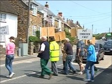 Chideock's villagers traffic protest, May 2010