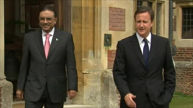 President Asif Ali Zardari of Pakistan with Prime Minister David Cameron