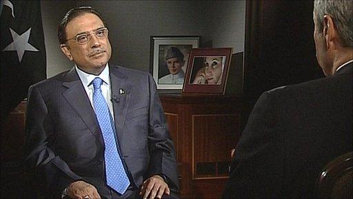 Pakistan's President Asif Ali Zardari talking to Gavin Esler