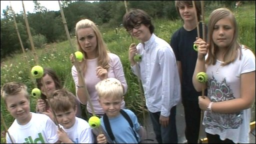 Hayley and kids with tennis ball mice houses