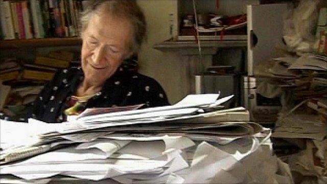 Beat poet Michael Horovitz in his Notting Hill flat