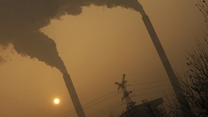Smoke from coal-powered power plant on the outskirts of Linfen, in China's Shanxi province - 8 Dec 2009