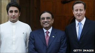 Bilawal Bhutto Zardari, Asif Ali Zardari and David Cameron