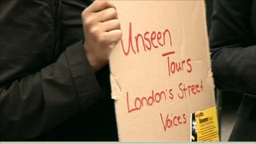 Homeless tours sign