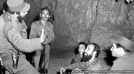 Castro and comrades in a cave