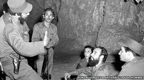 Castro and comrades in a cave