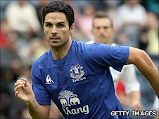 Mikel Arteta in action for Everton last seaosn