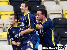 Alloa's Andrew Scott is congratulated following his late equaliser