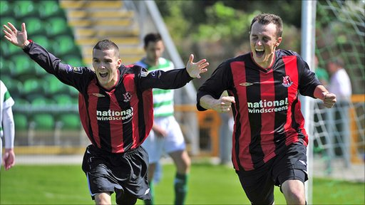 Martin Donnelly and Michael Halliday celebrate Crusaders' opening goal