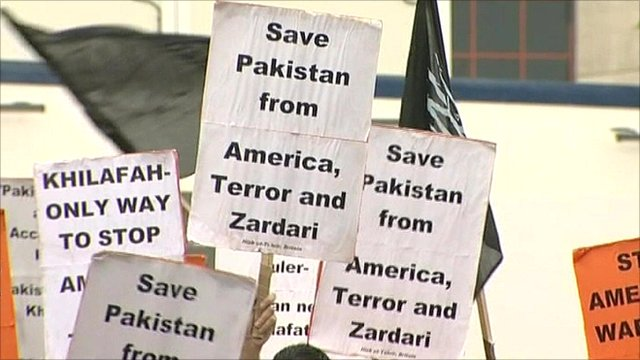 Protests outside President Zardari's rally