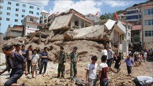 The landslide-hit Zhouqu County of Gannan Tibetan Autonomous Prefecture, Gansu Province