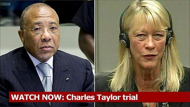Coverage of Carole White giving evidence at the Charles Taylor trial