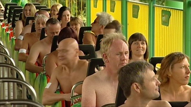 Naked rollercoaster riders in Southend