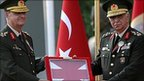 Turkish Generals Ilker Basbug (left), and Isik Kosaner, pictured in August 2008
