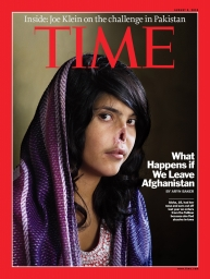 The front cover of Time magazine, featuring Afghan girl Aisha