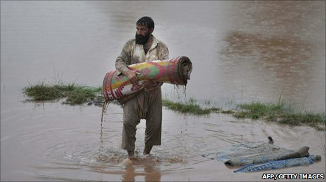 A survior of the floods in Nowshera