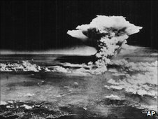 Mushroom cloud after Hiroshima bombing