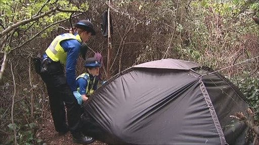 Rough sleeper's tent in Pterborough