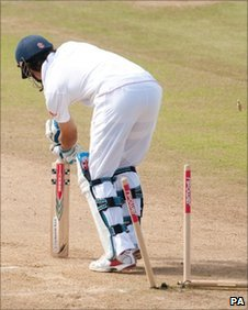 Alastair Cook is comprehensively bowled