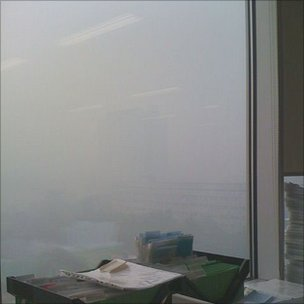 The view from Anatoli Bahdanovich's office in Moscow