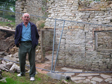 Clifford Hampson outside his grandfather's cottage
