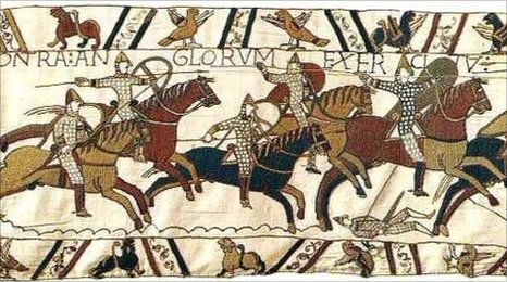 Norman cavalry charging, Bayeux Tapestry