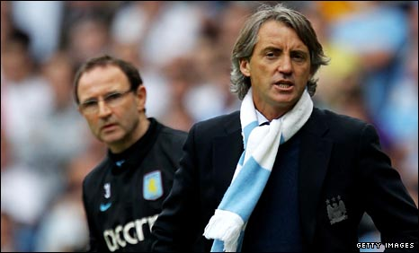 Martin O'Neill and Manchester City manager Roberto Mancini