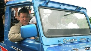 Juan Manuel Santos in Guaranda, Sucre, 8 August (Colombian presidency handout)