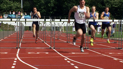 Hurdlers at the Scottish National Track and Field Championships