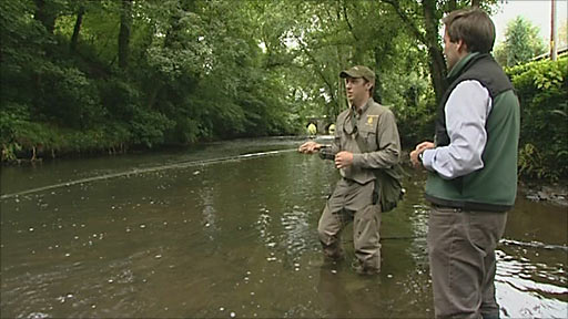 David Braine fishing along the River Tamar