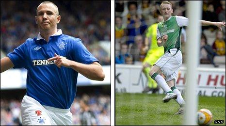 Rangers striker Kenny Miller and Hibs forward Derek Riordan