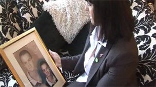 Angela Smith with a photograph of her son Kyle