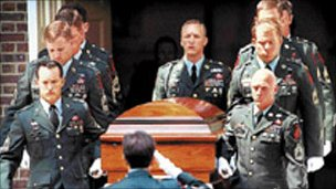 The funeral of Sgt Christopher Speer (image from US army tribute website)