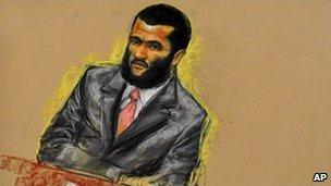 Omar Khadr in court in Guantanamo, 9 August