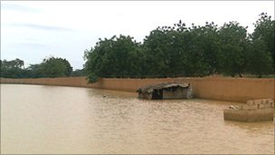 Flooding in Karadje suburb of Niamey, Niger, August 10, 2010