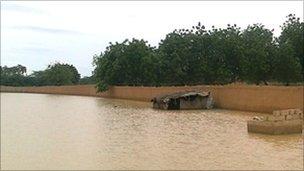 Flooding in Karadje suburb of Niamey, Niger, August 10, 2010